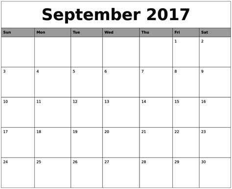 printable calendar sept 2017 september 2017 calendar pdf