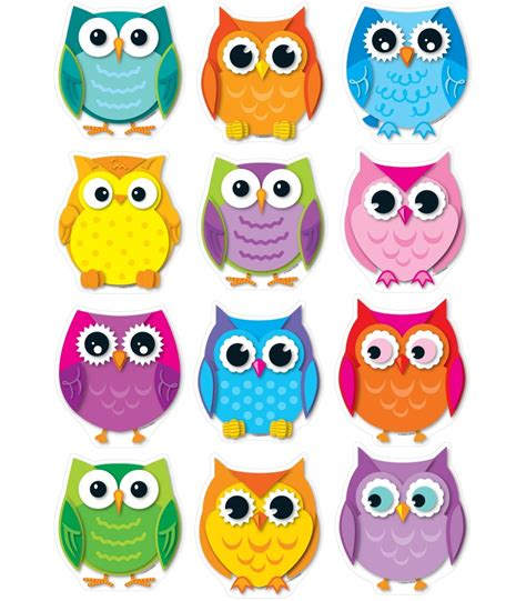 printable owl birthday chart owl cut outs for teachers colorful owls cut outs