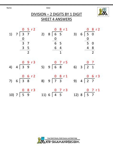 Division Practice Worksheets by Division Worksheets 3rd Grade