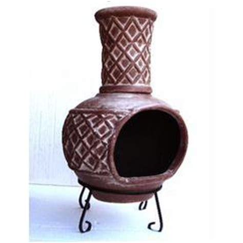 chiminea lowes lowe s 37 in h x 21 in d x 21 in w brown clay