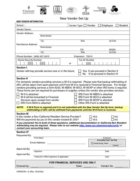 vendor setup form template best photos of ap vendor set up form new vendor set up