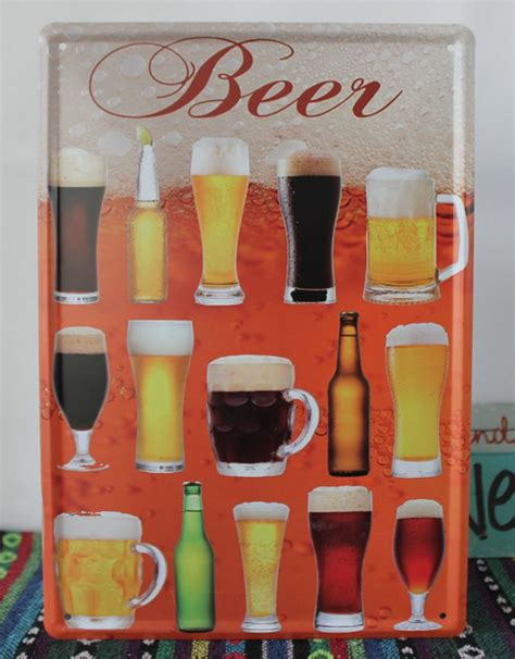 beer home decor creative beer mug retro tin sign bar pub metal wall art