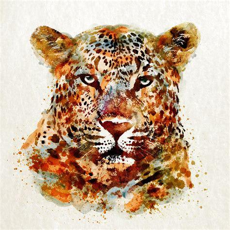 Cheetah Print Duvet Leopard Head Watercolor Digital Art By Marian Voicu