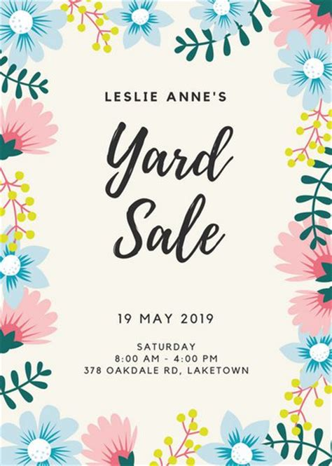 Business Card Templates Free Yard Sales by Floral Border Yard Sale Flyer Templates By Canva