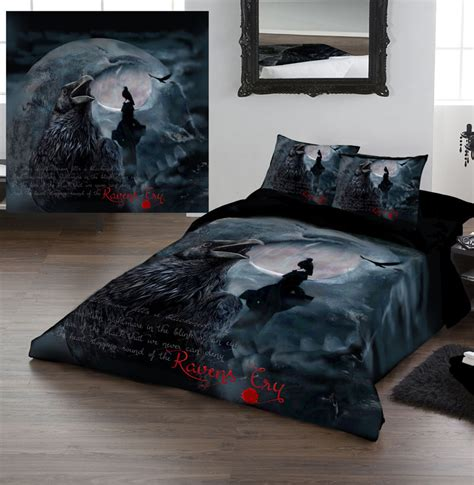 gothic bed sets raven s cry duvet covers set for kingsize bed artwork alchemy gothic dark ebay
