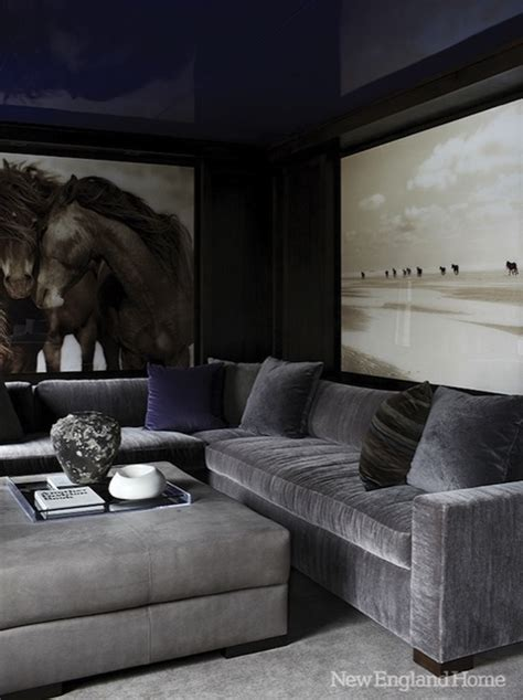 Design Ideas For Grey Velvet Sofa Gray Velvet Sectional Contemporary Media Room New Home