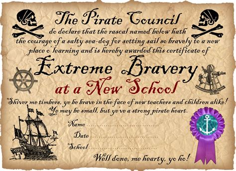 pirate certificate award for bravery in starting a new