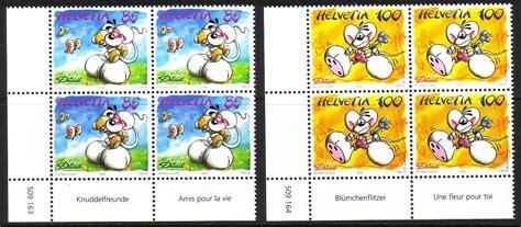 Briefmarken Schweiz Brief schweiz mi nr 1882 1883 4er block comicfigur diddl ii