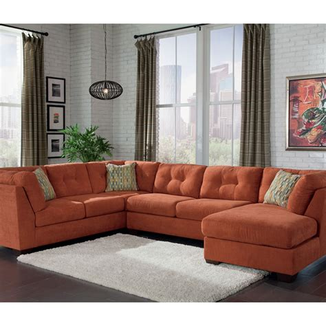 ashley furniture orange sofa benchcraft delta city 3 pc sectional sofa with raf chaise