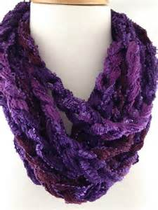 Finger Crochet Infinity Scarf Infinity Scarf Rich Purple Berry Sequin Finger