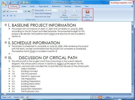 web layout on word ms word view tab