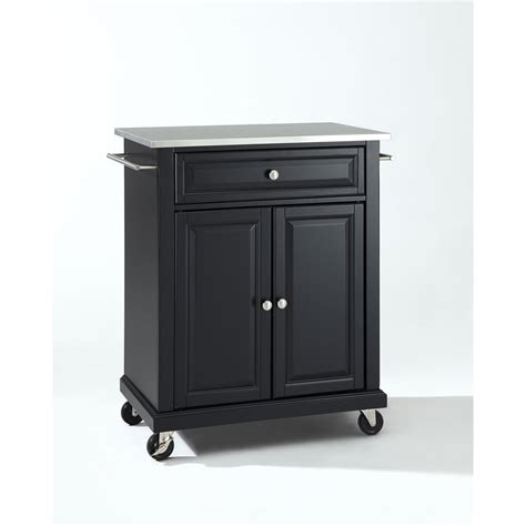 stainless steel top portable kitchen cart island in black