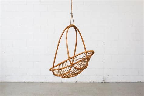 hanging basket chairs retro hanging bamboo egg basket chair at 1stdibs