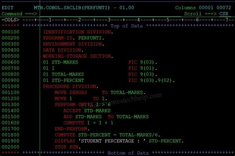 file section in cobol exle cobol perform until