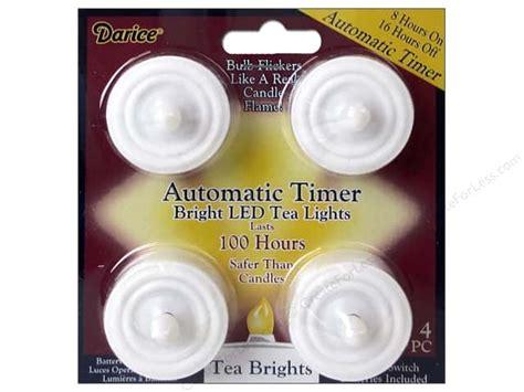 led tea lights with timer darice bright led tea light w timer100 hours 4pc
