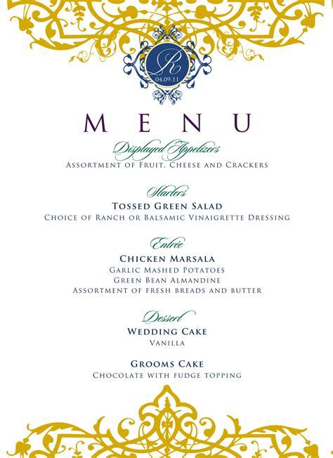Buffet Wedding Menu Card Template by Buffet Menu Cards For Weddings
