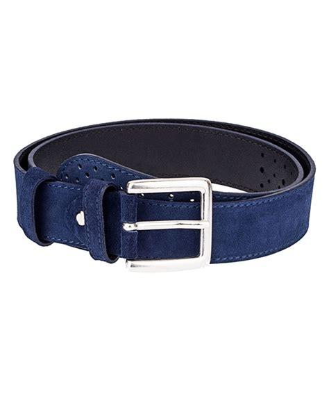 buy perforated blue suede belt leatherbeltsonline