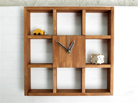 large wall clock shadow box shelf rustic centerpiece wall