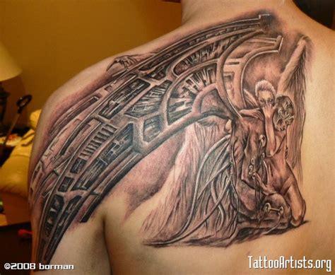 biomechanical tattoo book biomechanical fallen angel tattoo design tattoos book