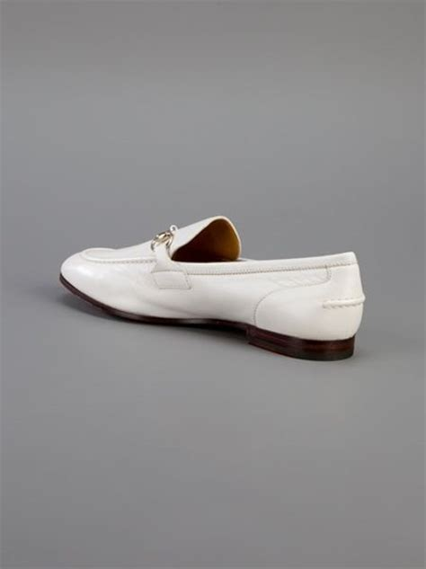 gucci loafers white gucci moccasin loafer in white for lyst
