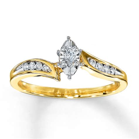 engagement ring 1 8 carat marquise cut 10k