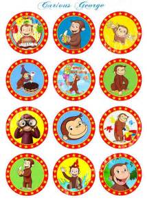 curious george craft circles instant download printable cupcake