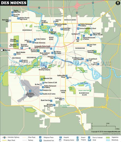 map of des moines iowa des moines map map of des moines capital of iowa