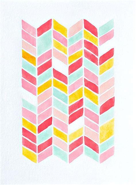 yellow watercolor pattern original chevron watercolor painting geometric pattern