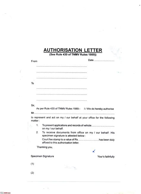 authorization letter for vehicle registration letter of authorization to drive car sle templates