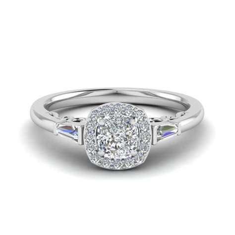 cushion cut halo engagement ring in platinum cushion cut halo engagement ring and baguette in