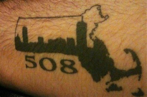 area code tattoos mass state and area code with boston skyline