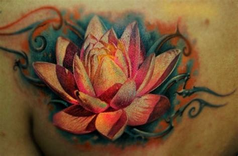 beautiful realistic detailed lotus tattoo tattooimages biz