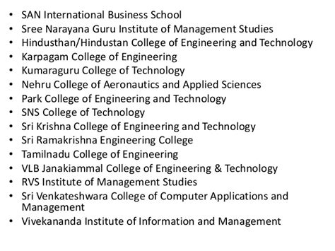 Mba In Coimbatore Institute Of Technology by List Of Mba Institutes In Coimbatore
