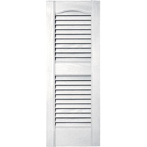 Builders Edge 12 In X 31 In Louvered Vinyl Exterior Home Depot Exterior Shutters