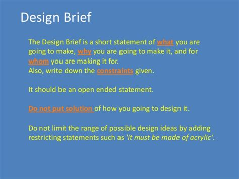 design brief for technology design brief for engineering design process