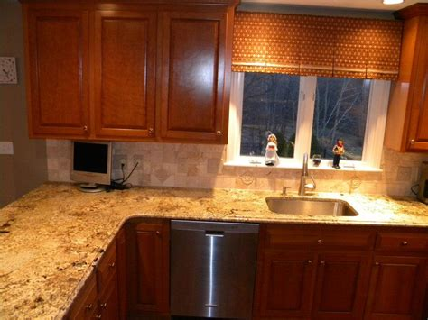 Kitchen Countertop Reviews by Namibian Gold Granite Installed Design Photos And Reviews