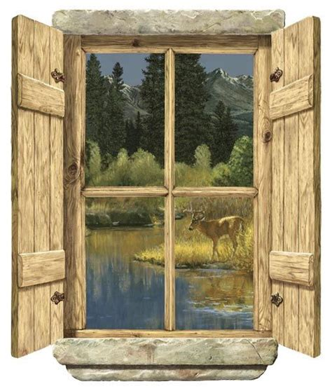 rustic window single deer peel stick wall mural wall