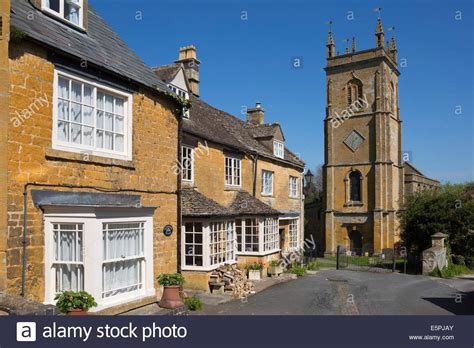 Blockley Cottages by Parish Church And Terraced Cotswold Cottages Blockley