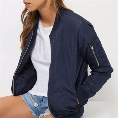 Hm Preloved Dress h m navy blue bomber jacket preloved s fashion clothes on carousell