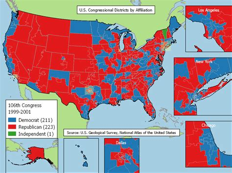 us map of political 2016 u s congressional districts by affiliation 1999 2016