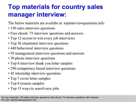 country sales manager questions and answers
