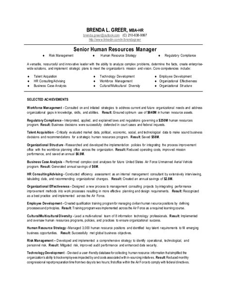 Resume Sles Human Resources Manager Senior Human Resources Manager Resume