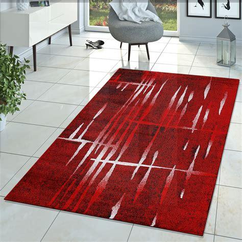 teppich rot schwarz weiß moderner wohnzimmer teppich matrix design kurzflor meliert