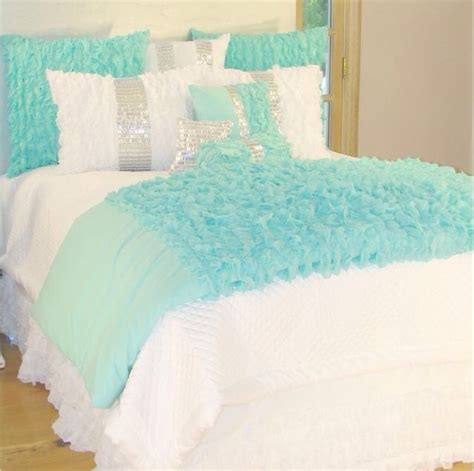 Aqua And White Bedding by Aqua And White Bedding On The Hunt