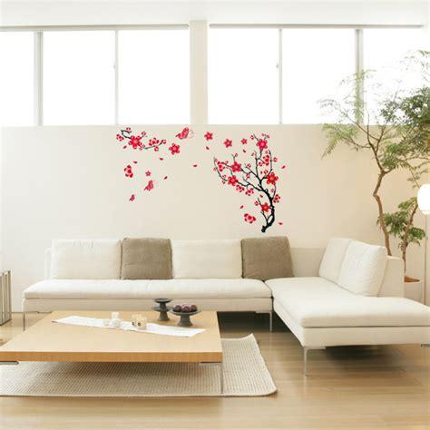 plum home decor red plum blossom wall sticker removable art diy home decor