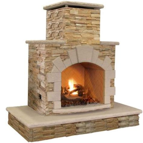 Outdoor Lp Gas Fireplace by Cal 78 In Brown Propane Gas Outdoor Fireplace Frp908 3 Apf The Home Depot