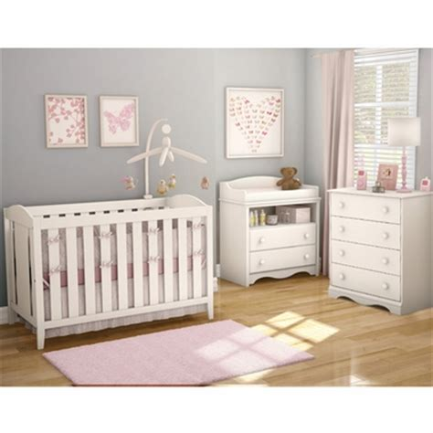 Crib With Changing Table And Drawers Southshore 3 Nursery Set Crib Changing Table And 4 Drawer Chest In White