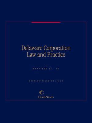 delaware corporation and practice by david a drexler