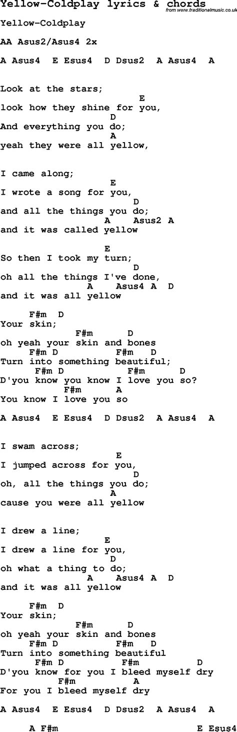 coldplay chords yellow love song lyrics for yellow coldplay with chords