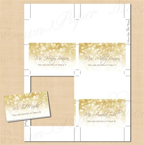 template place cards gold border white gold sparkles place card tent fold to 3 5x2 text